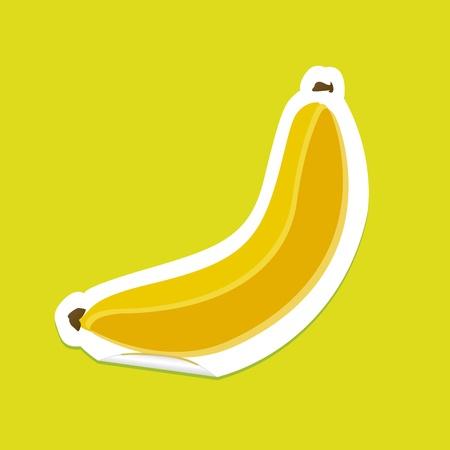 banana sticker on a green background, vector illustration Vector