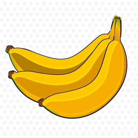 bunch of bananas cartoon, on white background with gray dots Vector