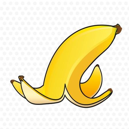 cáscara de plátano sobre fondo blanco con puntos grises