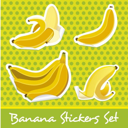 banana sticker set on a green background with dark green dots Vector