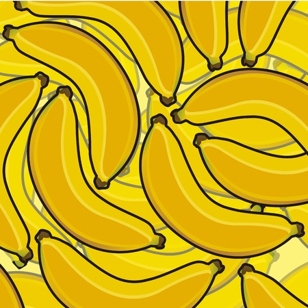 collage of cartoon bananas in different layers Vector