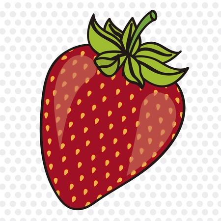 cartoon strawberry on white background with gray dots