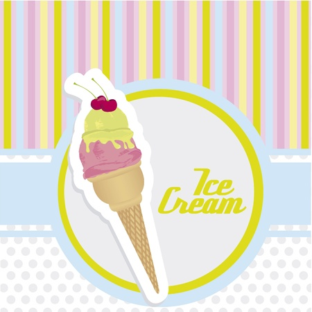 ice cream cone sticker on background with colored lines Vector