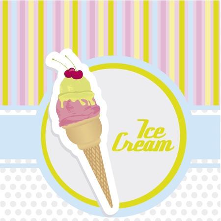 cream colored: ice cream cone sticker on background with colored lines