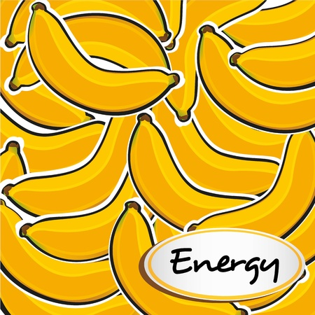 Many banana cartoon grouped on each other, background Vector