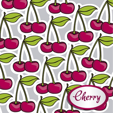 Many cartoon cherries with a white border on each other, background Stock Vector - 12814250