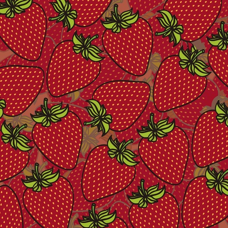 cartoon strawberries grouped over each other in different layers, background Vector