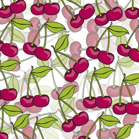 cartoon cherries grouped over each other in the different layers Vector