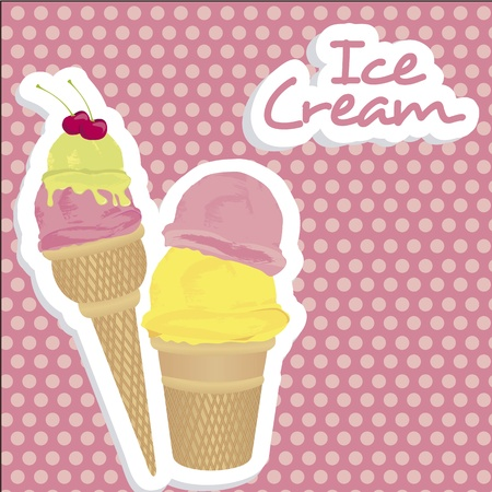ice cream cones on pink background with light pink dots Vector