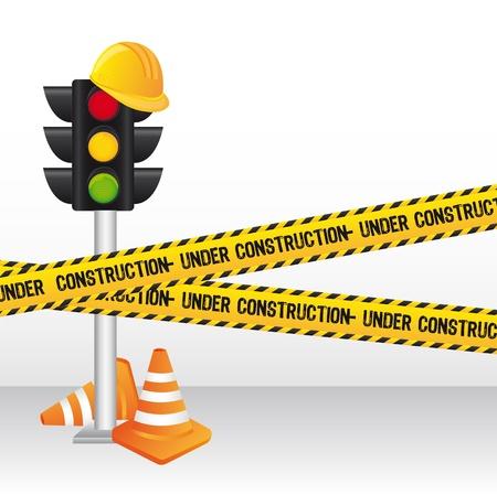 semaphore: semaphore with yellow tape, construction.