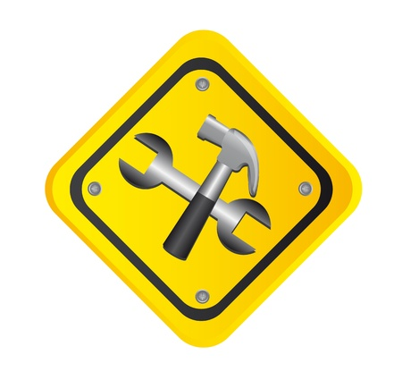 tools over yellow road sign isolated. Stock Vector - 12948411