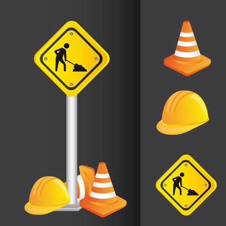 under construction sign with man: construction icons, road sign.