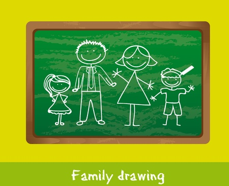 family drawing over chalkboard, background. Vector
