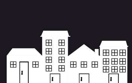 black and white houses with window. Vector