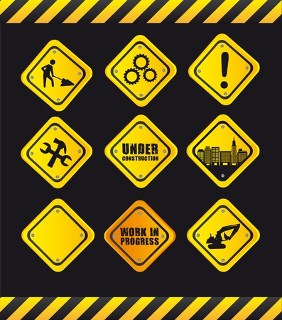 yellow signs over black background. Vector