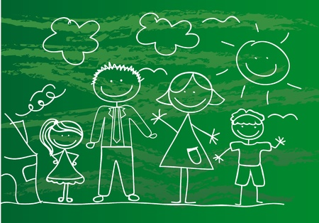 happy family drawing over green background. Vector