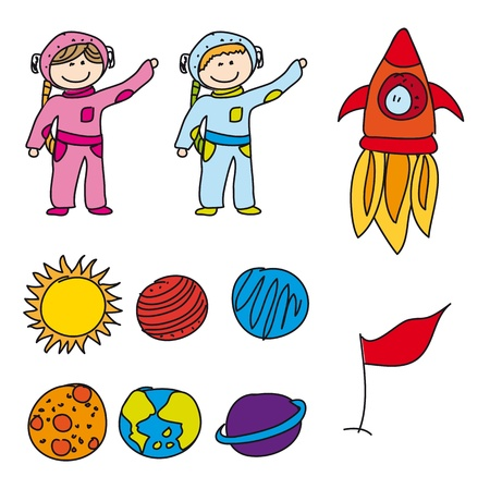 spaceman: astranauts with planets isolated, drawing.