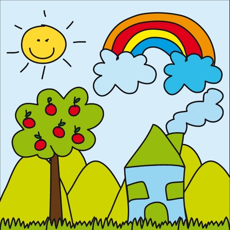 cute landscape drawing wih house and rainbow. Vector