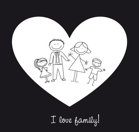 happy family over heart, i love family.
