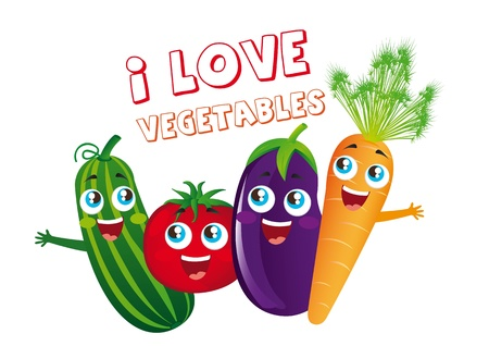 happy vegetables cartoons isolated over white background.
