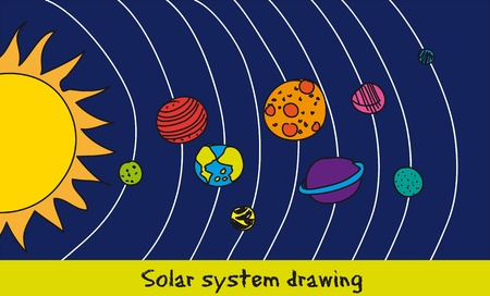 solar system drawing over blue background. Vector