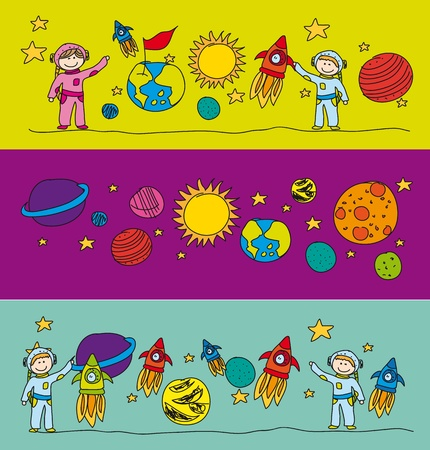 astronauts: cute elements solar systems drawing.