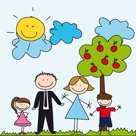 family drawing over cute landscape, background. Vector