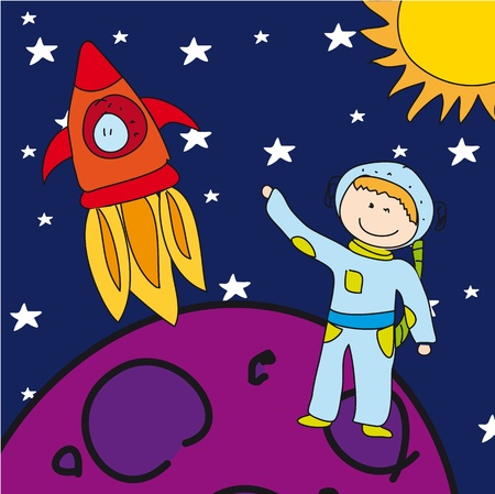 child astronaut over purple planet with rocket. Vector