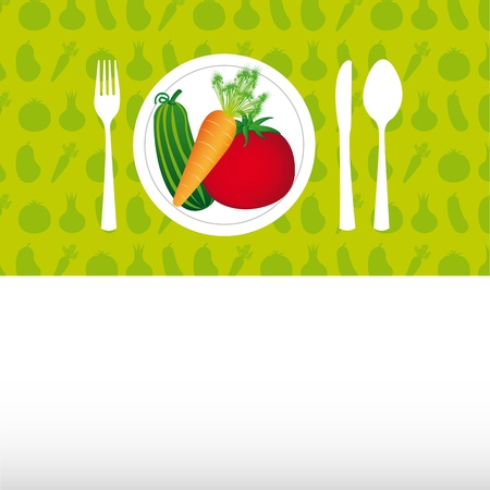 vegetables over dish with cutlery, background. Stock Vector - 12948283