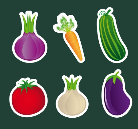 cute vegetables stickers   over green background. Stock Vector - 12948278