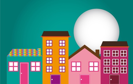 cute houses with window and moon over green background. Vector
