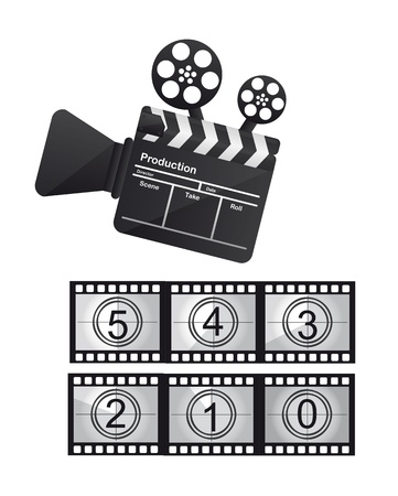 cinema with film countdown isolated over white background Vector