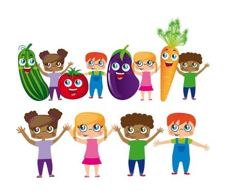 frutas divertidas: del ni�o con los dibujos animados hortalizas aisladas sobre fondo blanco.