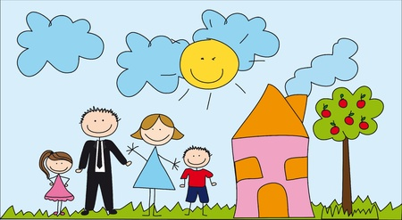 cute family with house, drawing. Vector