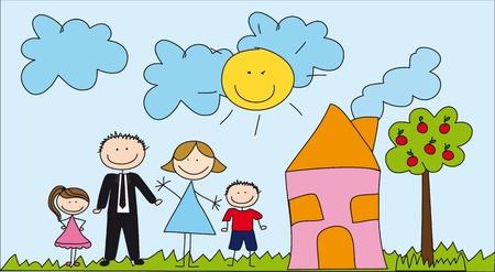 famille mignonne avec la maison, dessin.