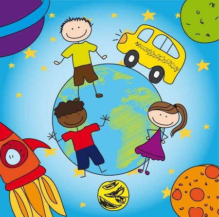 solar system and school with children, drawing. Vector