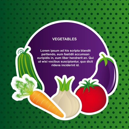 vegetables with space for copy over green background. Stock Vector - 12948307
