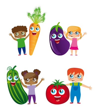 children eating fruit: children and vegetables isolated over white background.