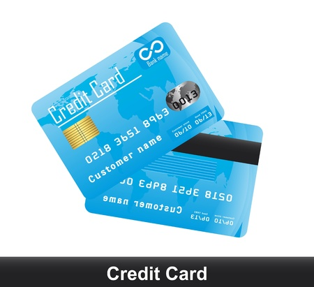 mastercard: blue credit card isolated over white background.