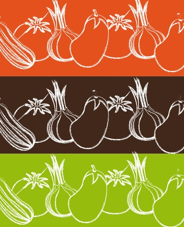 grunge vegetables drawing background. Vector