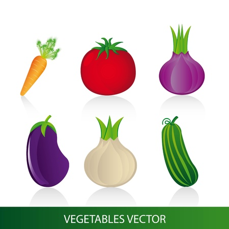 vegetables with shadow over white background. Stock Vector - 12948417