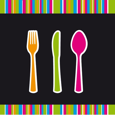 cute cutlery isolated over black background. Vector
