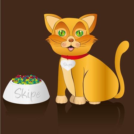 food container: gato amarillo de estar con recipiente de comida y un collar