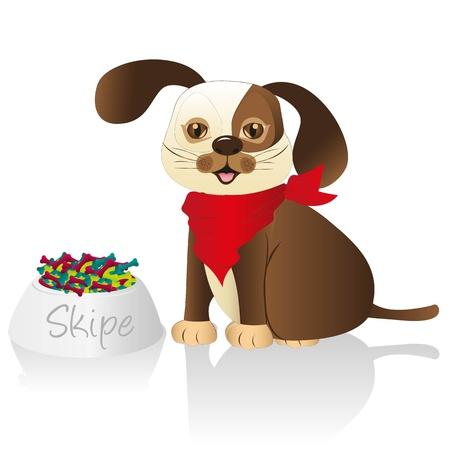 food container: perro marr�n con pa�uelo rojo y el recipiente de comida issolated sobre fondo blanco Vectores