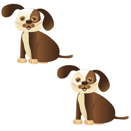 obedient: brown dog sitting with and whitout lines, vector illustration
