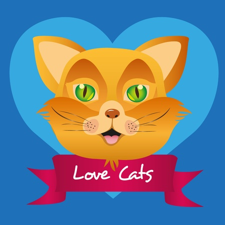 label cat isolated on blue background, vector illustration Vector