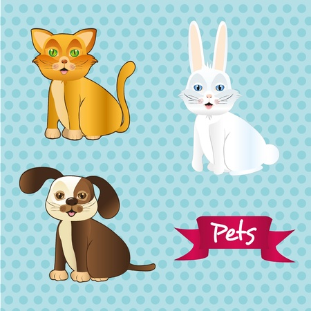 dog, cat and rabbit sitting on tender dots pattern Illustration