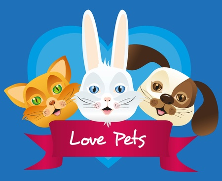 dog, cat and rabbit label, issolated over blue background Stock Vector - 13035111