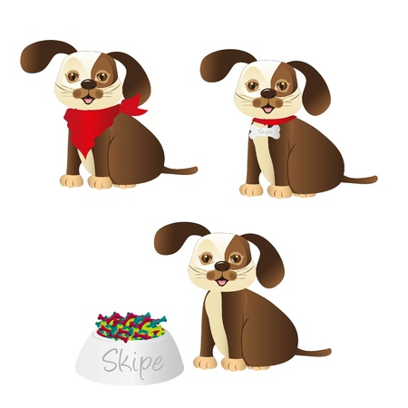 dog with different accessories isolated on white background Stock Vector - 13035372