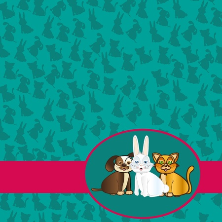 domestic pets label background of silhouettes, vector Vector